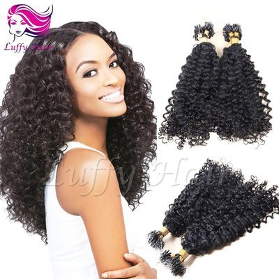 8A Virgin Human Hair Kinky Curly Micro Loop Ring Hair Extensions - KML004