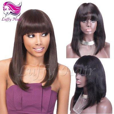 """8A Virgin Human Hair 8""""-14"""" Short Bob Wig With Bangs - KWL040"""