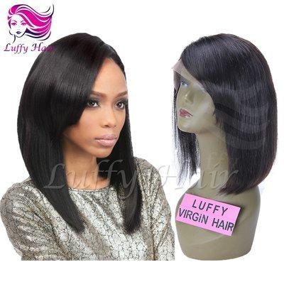 """8A Virgin Human Hair 8""""-14"""" Short Bob Wig With Side Bangs - KWL007"""