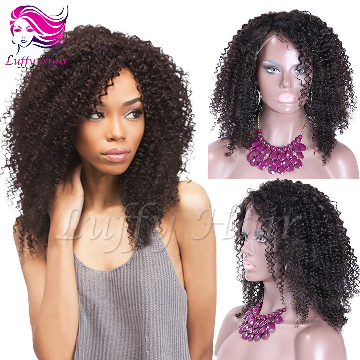 8A Virgin Human Hair Kinky Curly Wig - KWL020