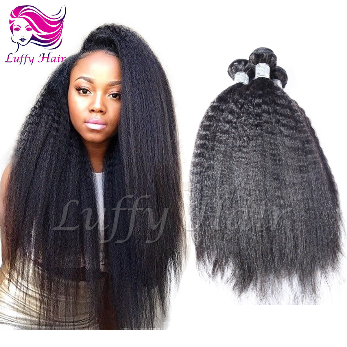 8A Virgin Human Hair Kinky Straight Hair Bundle - KEL013