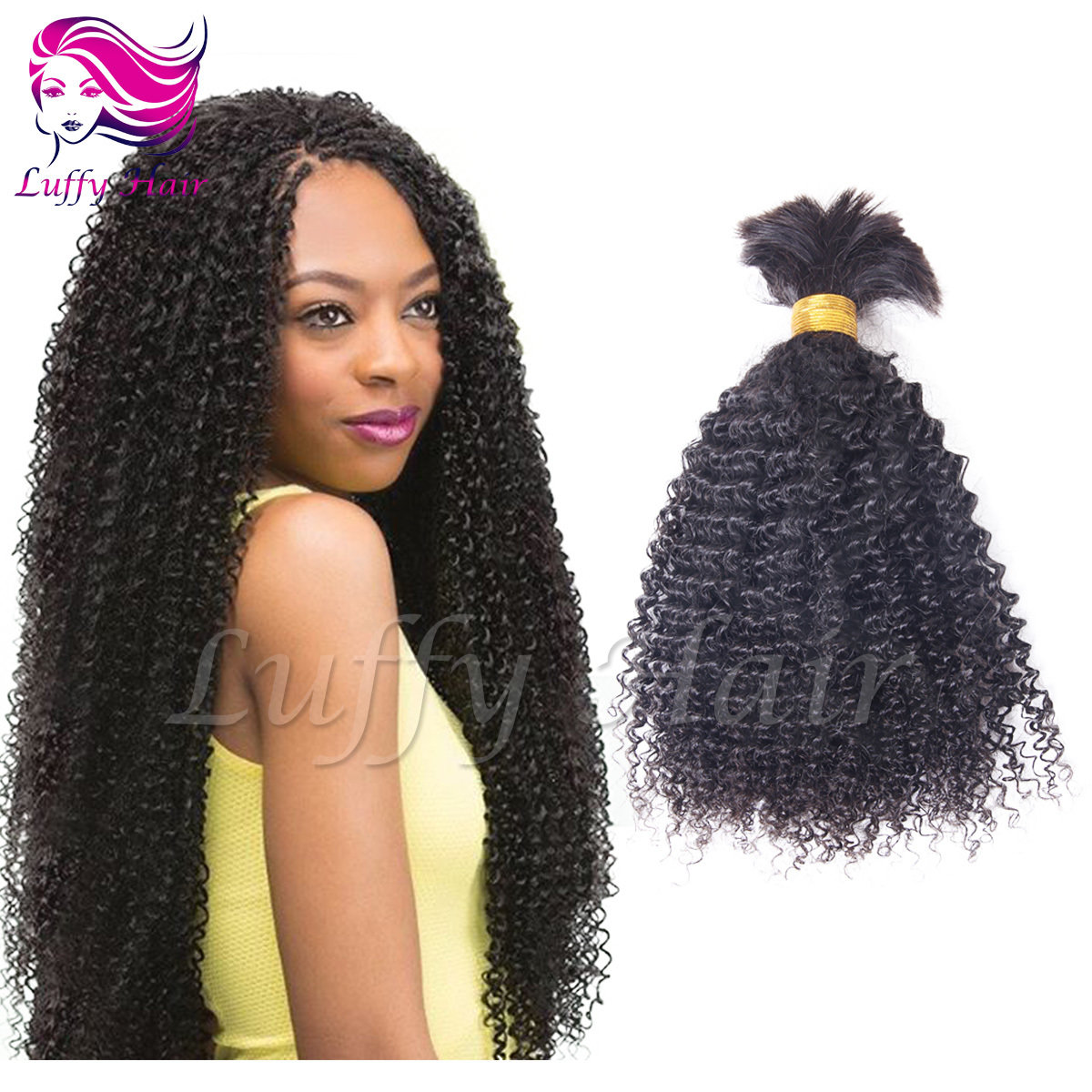 8A Virgin Human Hair Afro Braiding Hair Bulk - KBL002