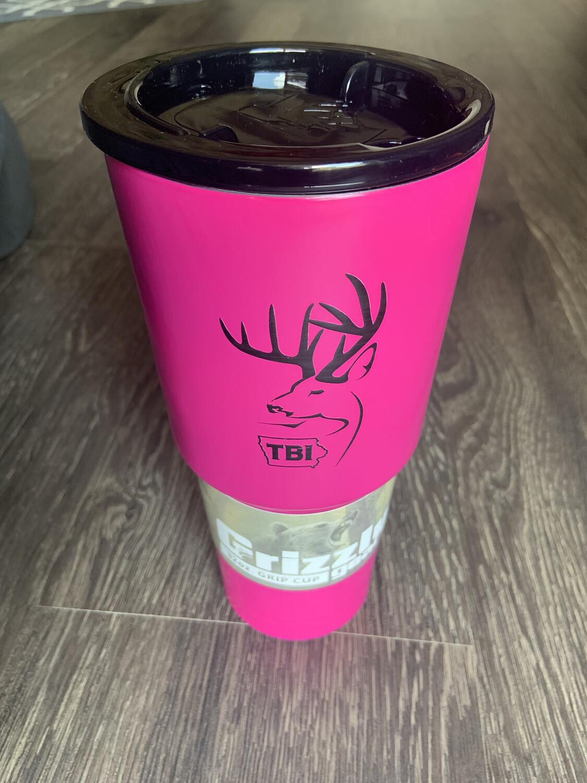 32 oz. Pink Grizzly Grip w/black logo
