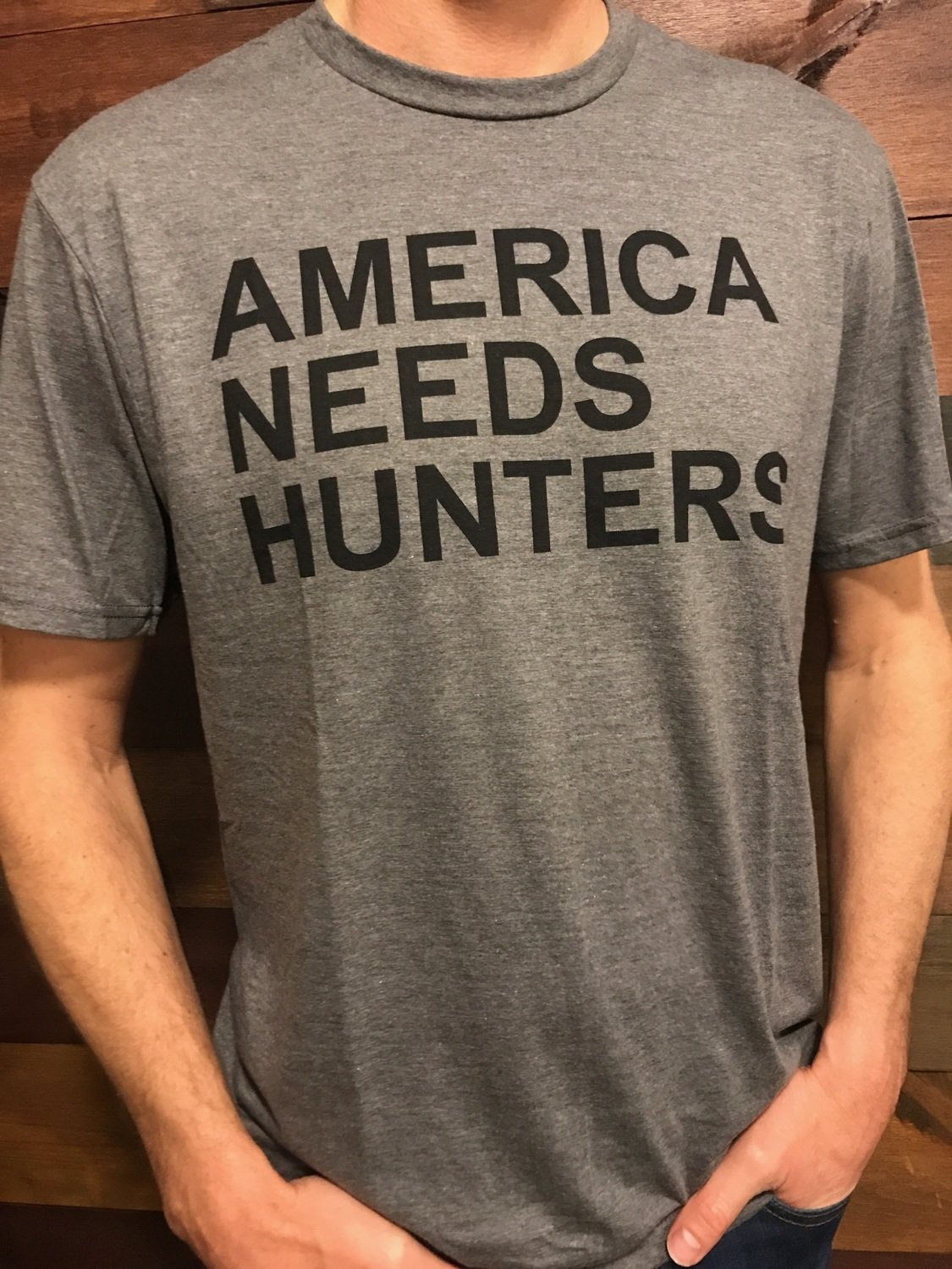 America Needs Hunters T-Shirt Grey/Black