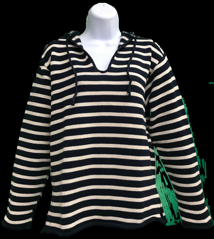 Navy/Natural Striped Tie Hoodie