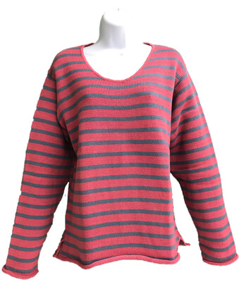 Pink/Slate Striped Vee