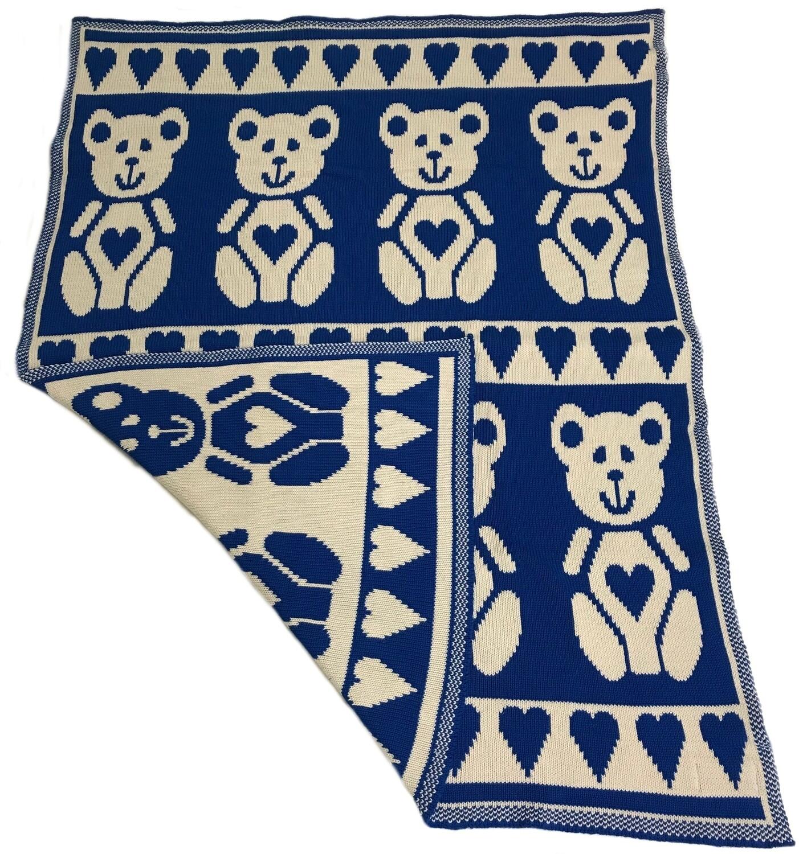 Reversible Teddy Bear Baby Blanket