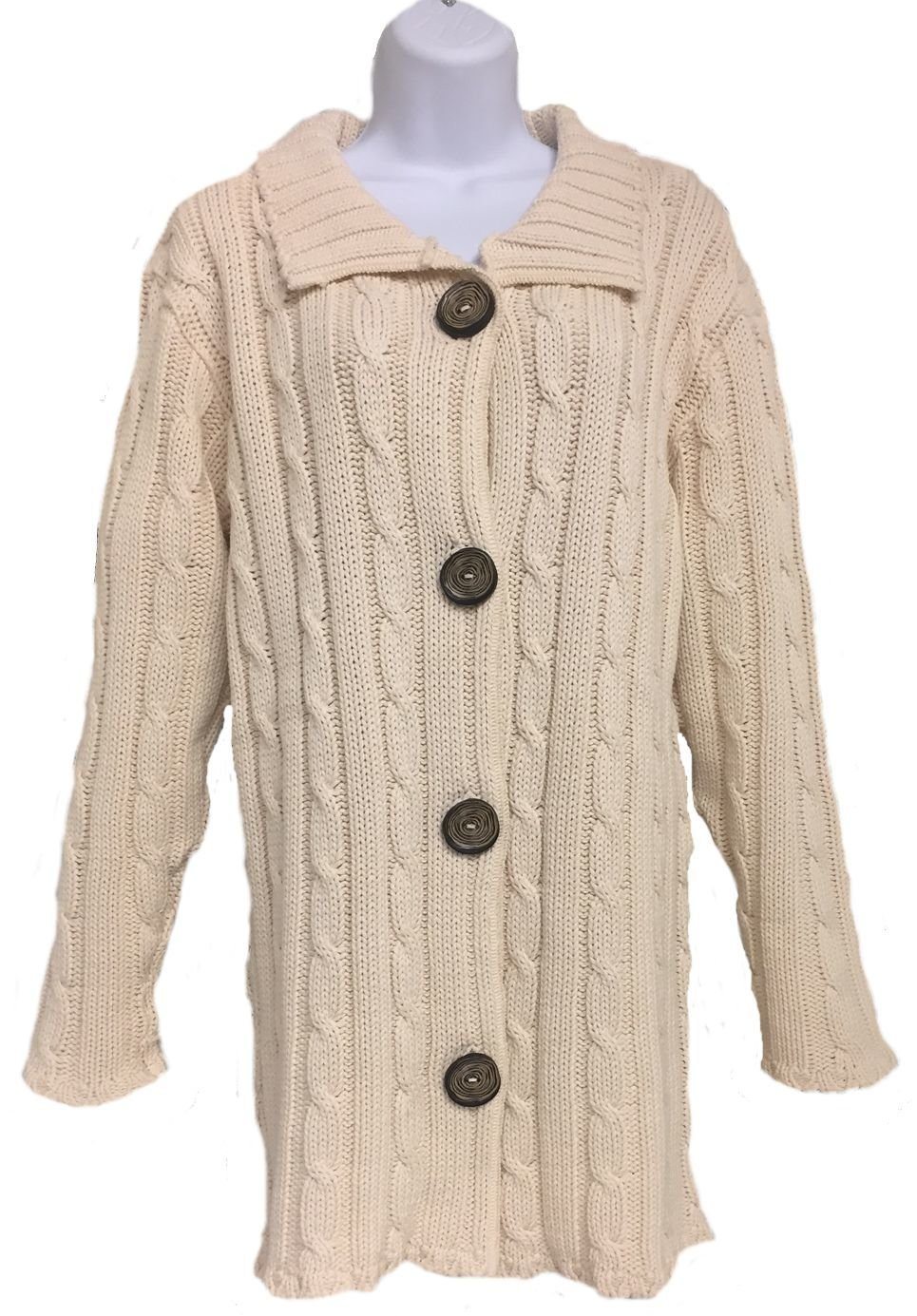Ladies' Long Cable Cardigan