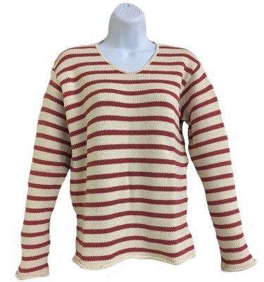 Natural/Nautical Red Striped V-Neck