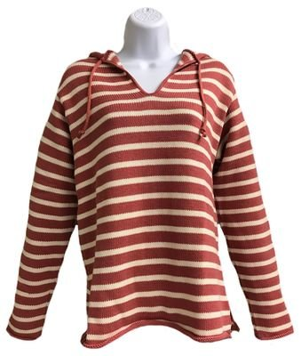 Nautical Red/Natural Striped Tie Hoodie