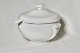 Whiteware Soup Tureen and ladle