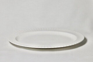 Whiteware Oval Fluted Plate 14""