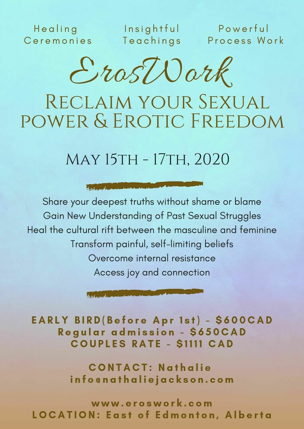 ErosWork Sexuality & Shadows Event - 3 day intensive EARLY BIRD