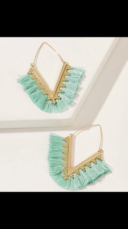 Teal V Tassel Earrings