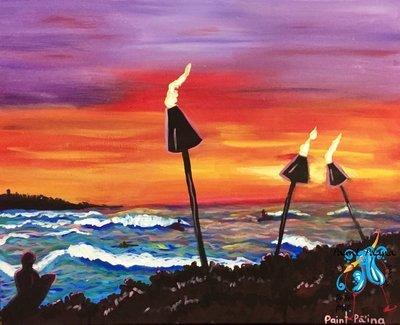 Original Painting – Sunset Surf Turtle Bay