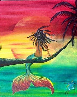 Original Painting – Rasta Mermaid