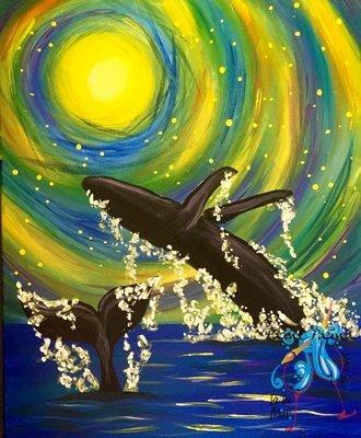 Original Painting – Dancing Whales