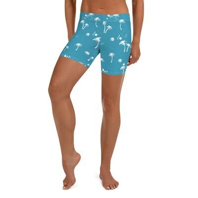 Palm Print Biker Shorts