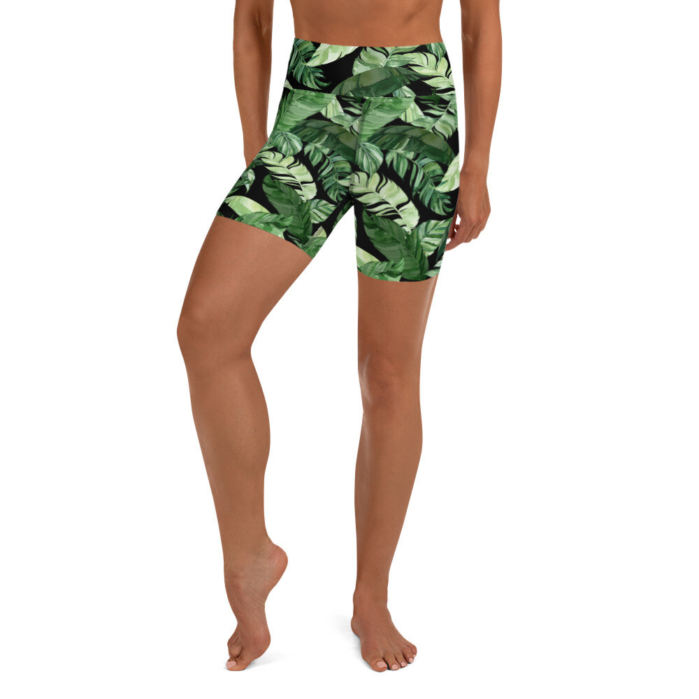 Palm Leaf Yoga Bike Shorts