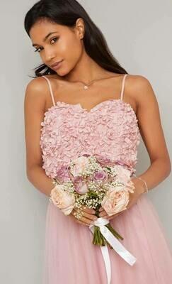 Collezione Cerimonia abito rose applicate