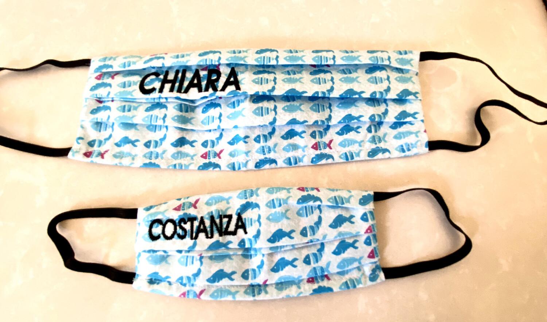 """Mascherina """"Mini Me"""" Donna-Bambina/o Personalizzate pesci azzurri"""