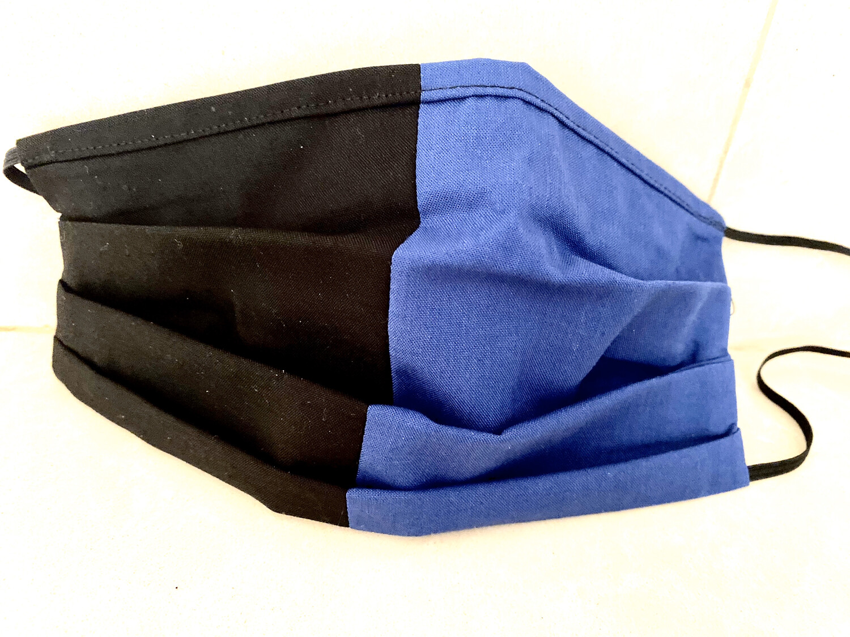 Mascherina  Unisex bicolore nero/azzurra