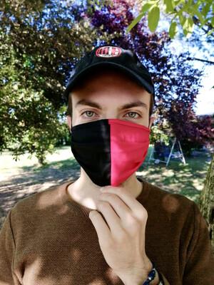 Mascherina Unisex bicolore rosso/nera
