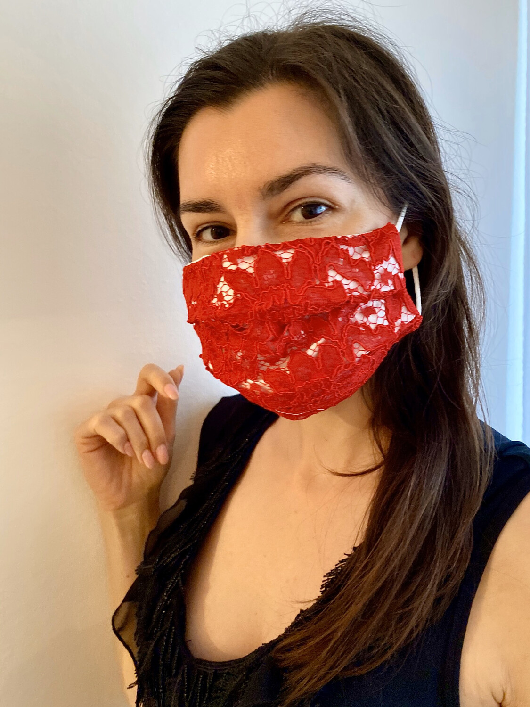 Mascherina Donna Pizzo Rosso