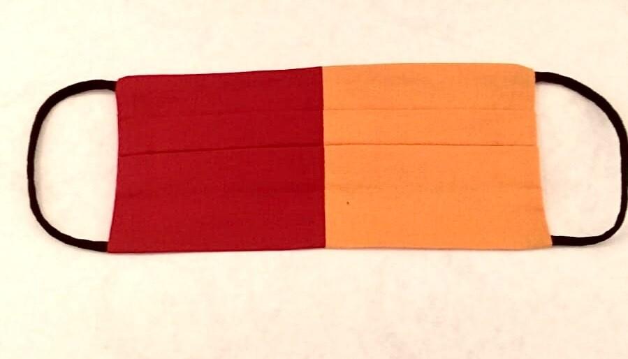 Mascherina Bambina/o Bicolore Arancio/rossa