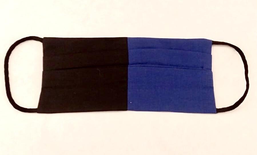 Mascherina Bambina/o Bicolore blu/nero