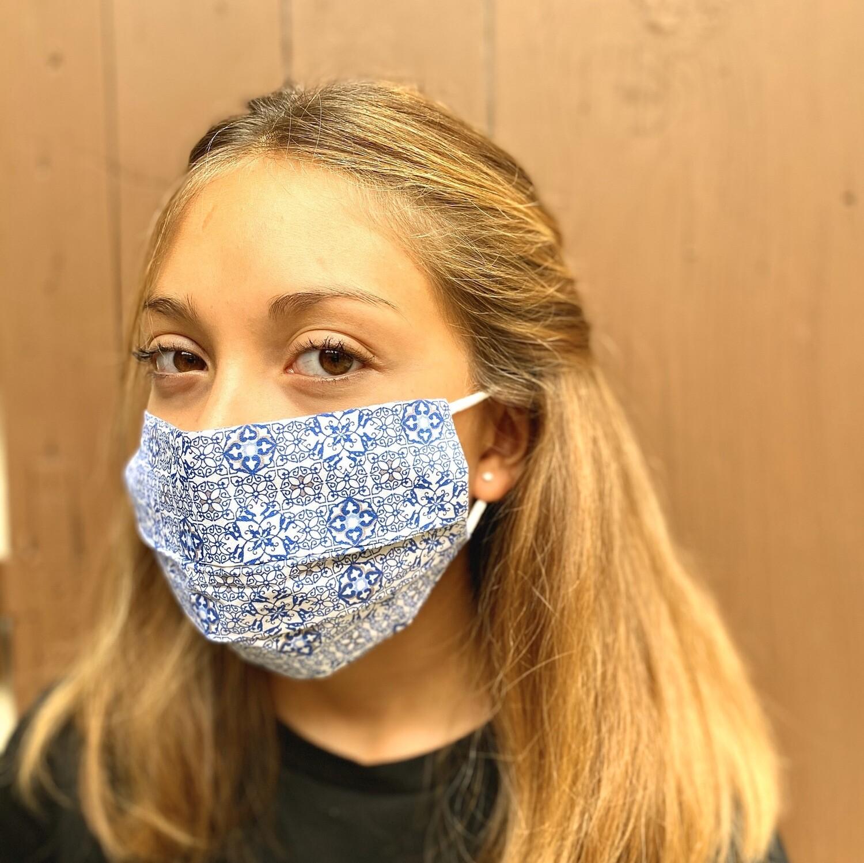 Mascherina Unisex Disegno Geometrico Blu