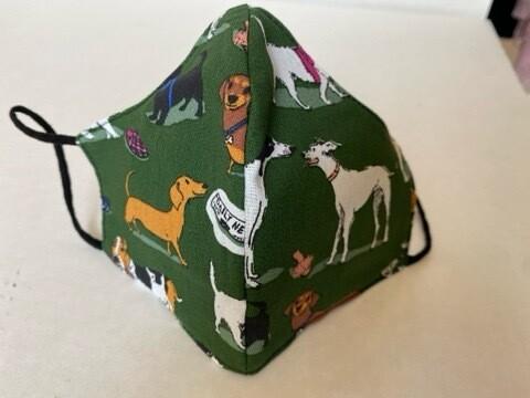 Mascherina A Conchiglia Cani Verdi