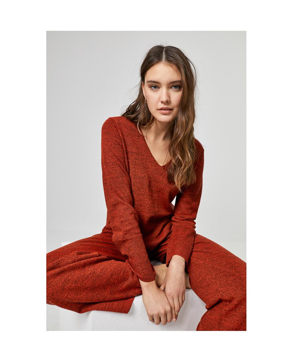 surkana maglia con tasca color mattone