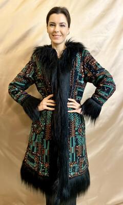 Cappotto Ricamato Con Eco-pelliccia verde