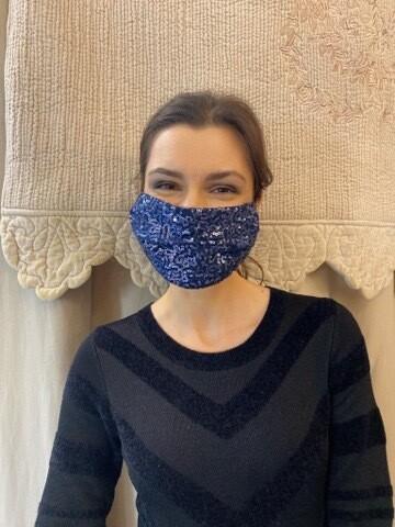 Mascherina Donna Paiettes Blu