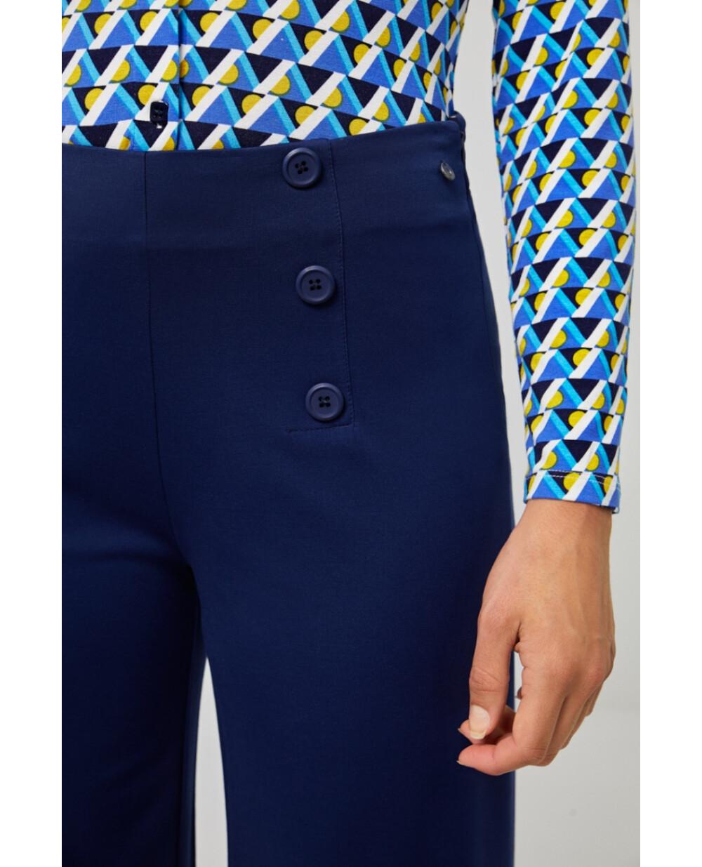 Surkana pantalone palazzo con bottoni blu
