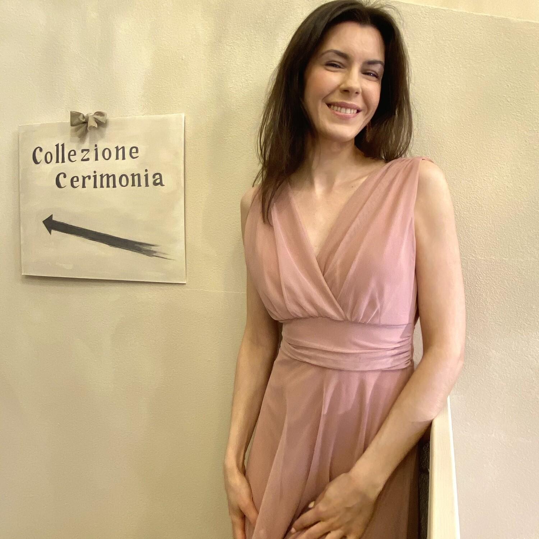 Collezione Cerimonia Abito Tulle con fascia rosa