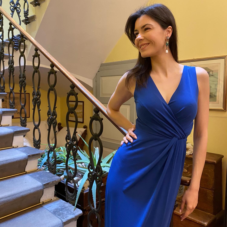 Collezione Cerimonia abito drappeggio jersey blu