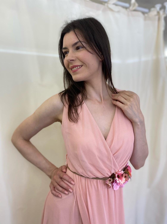 Collezione cerimonia abito tulle con cintura rosa
