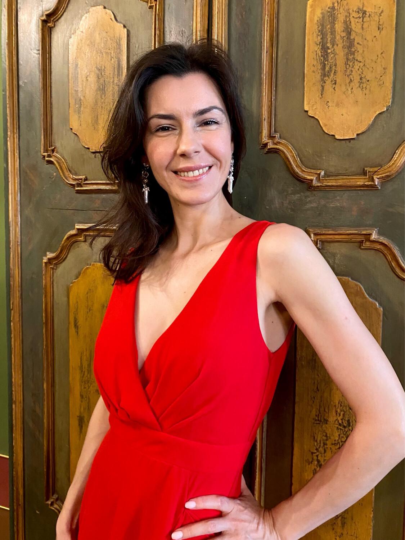 Collezione cerimonia abito voulant rosso