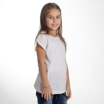 T-SHIRT SLUB BAMBINA BIANCA no label