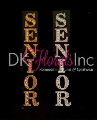 Senior Glitter Letters with Rhinestones and YR