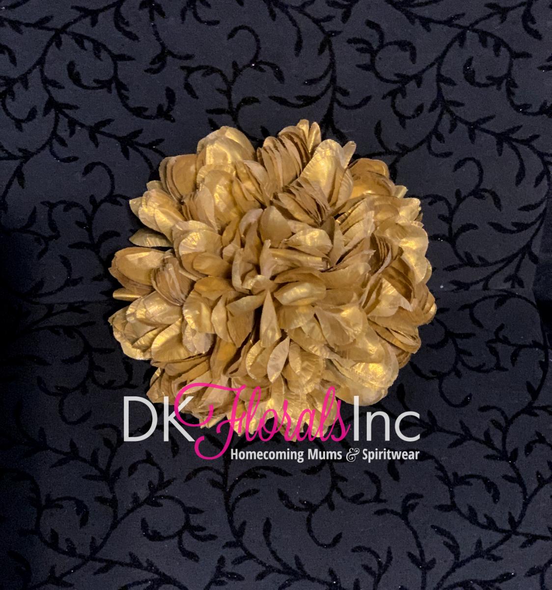 Gold Metallic Lame Flowers - Homecoming Mum Flower