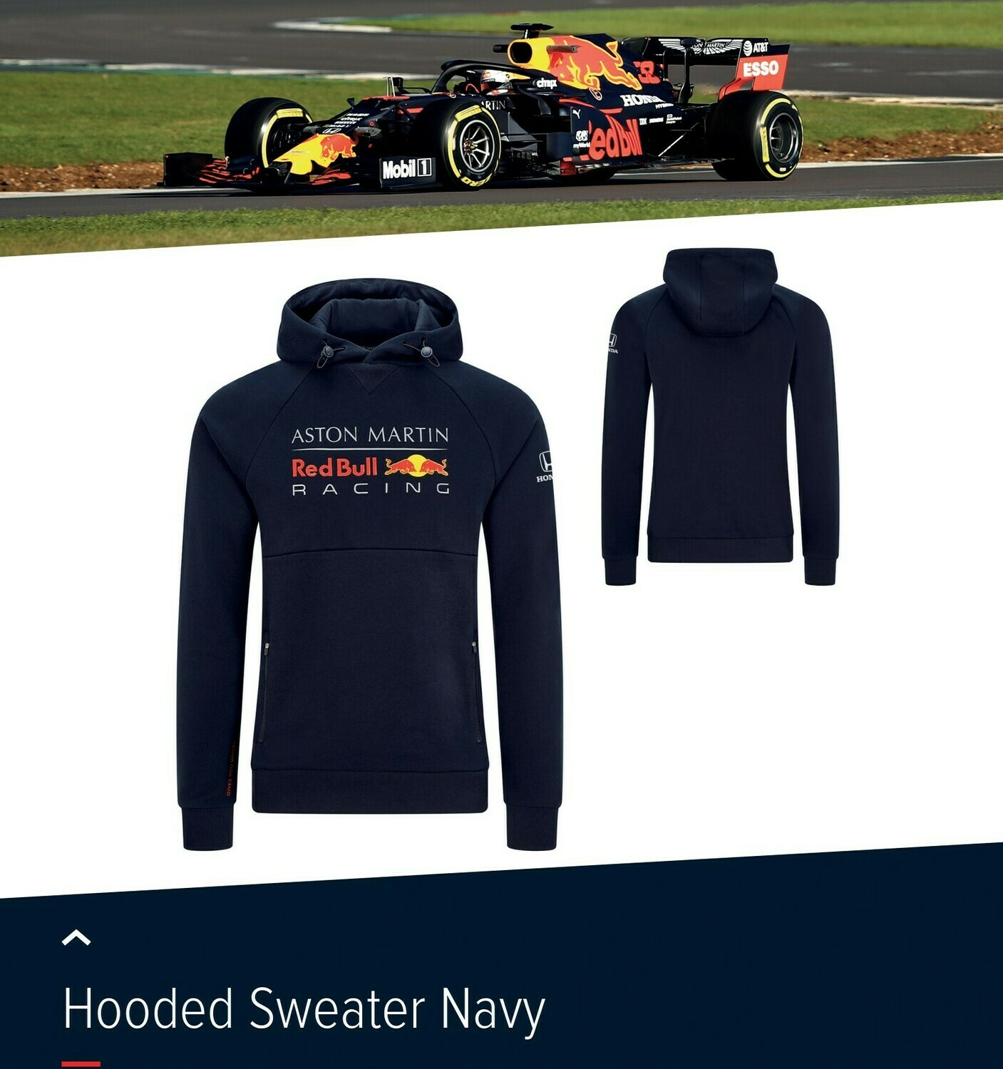 Aston Martin Red Bull Racing Hooded Sweater Navy 2020 Hace Formula 1