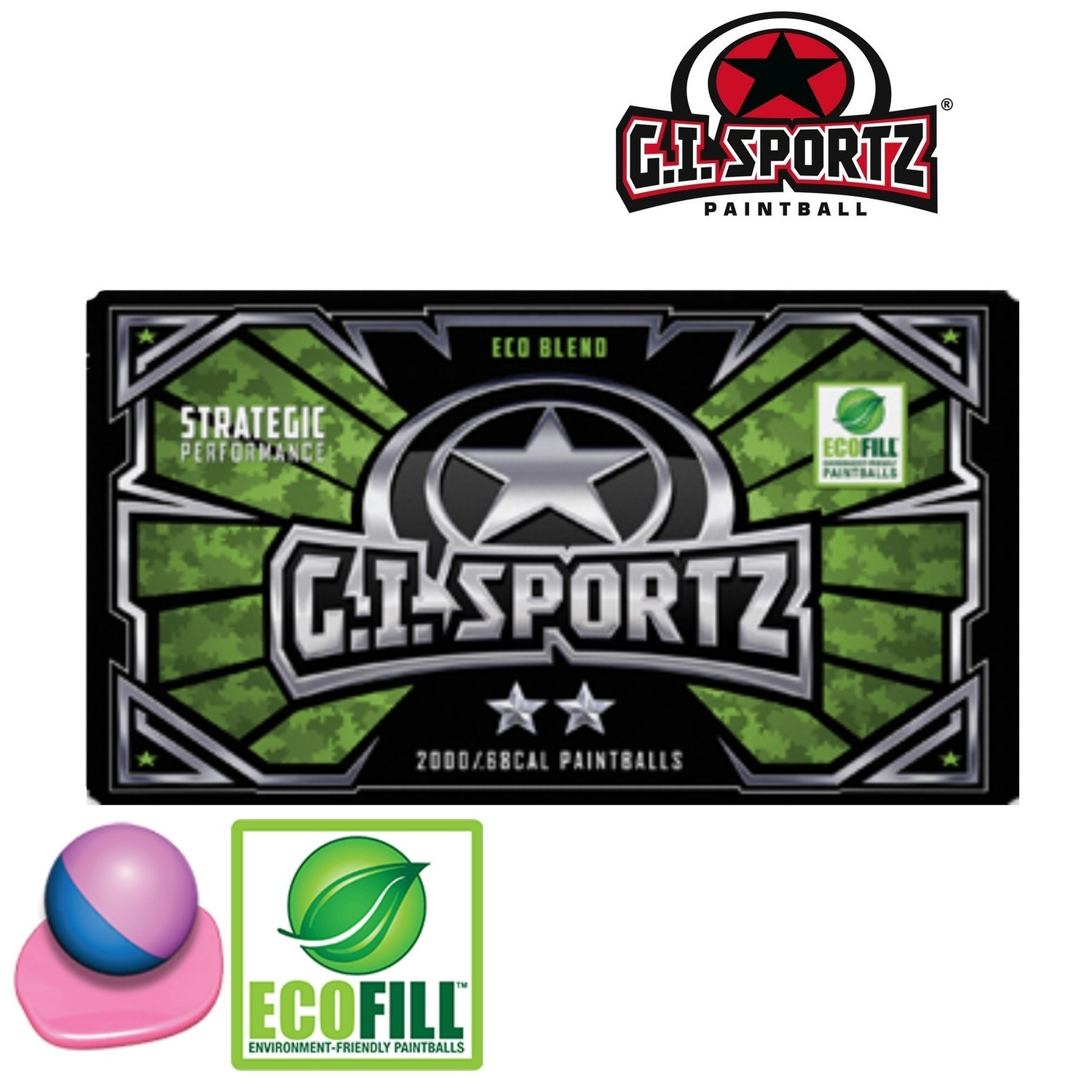 G.I. Sportz 2-Star .68 cal Paintballs - Case of 2000 Rds - Blue/Pink Shell - Pink Fill