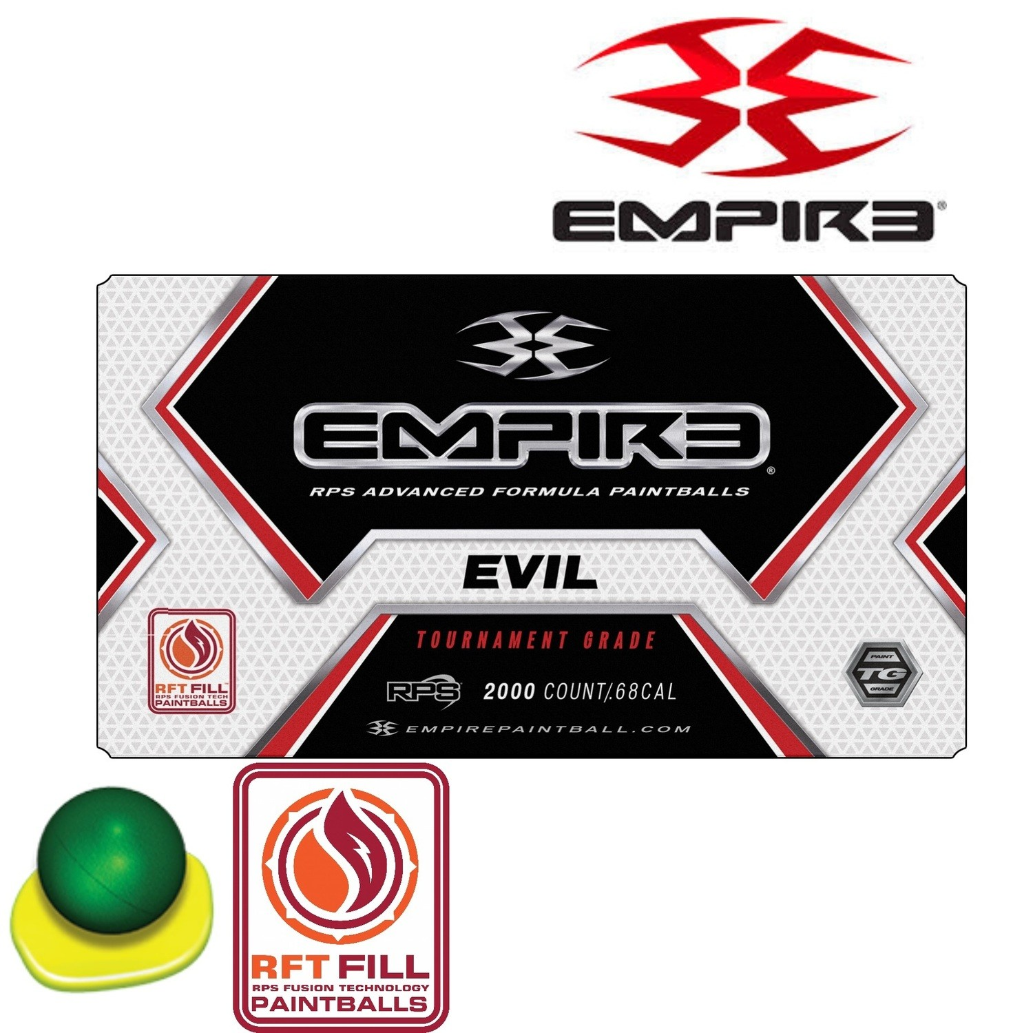 Empire Ultra Evil .68 cal Paintballs - Case of 2000 Rds - Metallic Pine Shell - Yellow Fill
