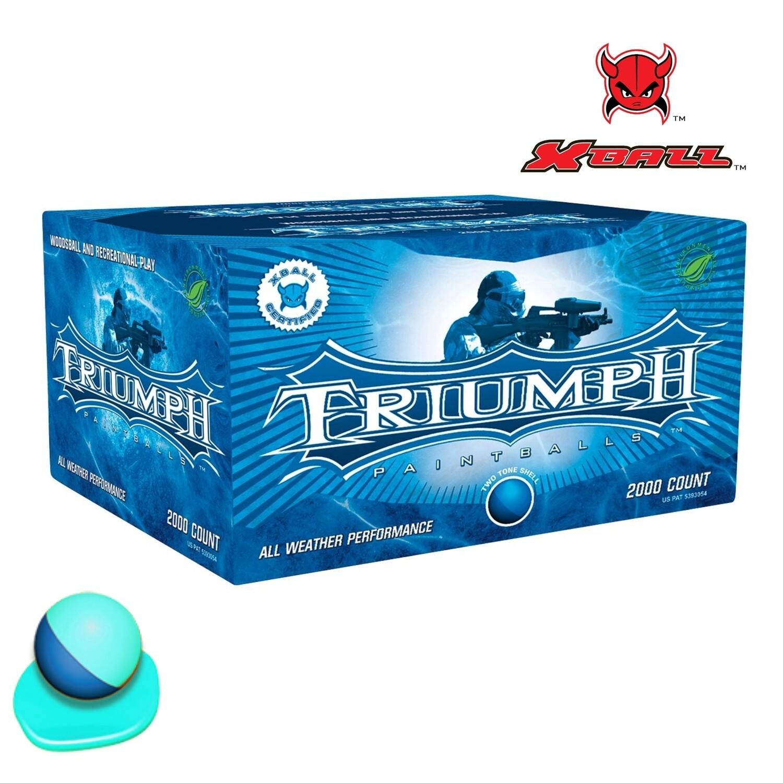 X-Ball Triumph .68 cal Paintballs - Case of 2000 Rds - Dark Blue/Blue Shell - Blue Fill