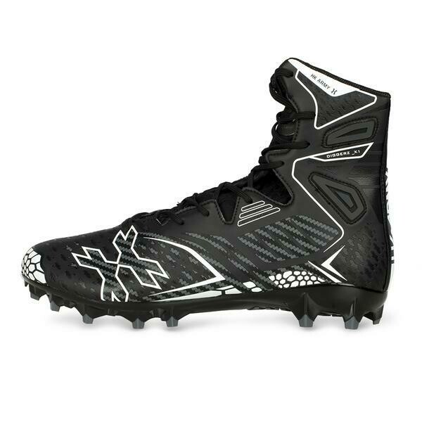 HKARMY Diggerz_X1 Hightop Cleats - Black/Grey- Size 13