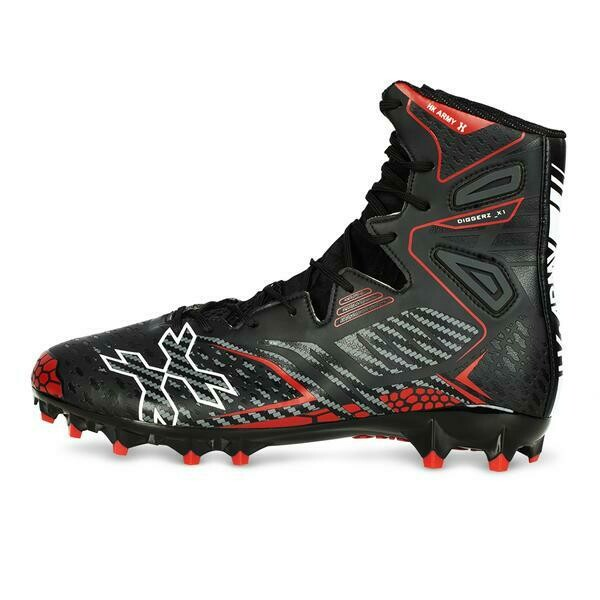 HKARMY Diggerz_X1 Hightop Cleats - Black/Red - Size 12