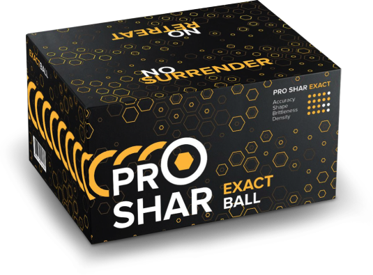PROSHAR Exact .68 cal Paintballs - Case of 2000 Rds - Yellow Fill